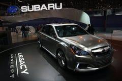 Concepto de la herencia de Subaru - demostración de motor de Ginebra 2009 imágenes de archivo libres de regalías