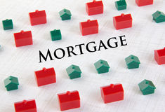 Concepto de la hipoteca del mercado inmobiliario Imagen de archivo