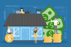 Concepto de la hipoteca Idea de un préstamo de la propiedad ilustración del vector