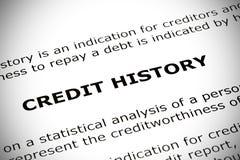 Concepto de la historia de crédito imagen de archivo libre de regalías
