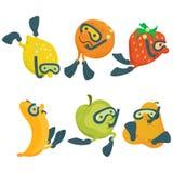 Concepto de la historieta de los buceadores de la fruta Imagenes de archivo