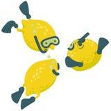 Concepto de la historieta de los buceadores del limón Imagen de archivo libre de regalías