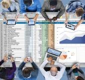 Concepto de la hoja de cálculo del informe de la contabilidad de la planificación financiera Foto de archivo libre de regalías