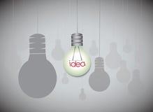 Concepto de la idea con el colgante de bombillas stock de ilustración