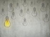 Concepto de la idea con las bombillas Imagen de archivo