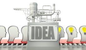 Concepto de la idea con las bombillas en las mentes de la gente stock de ilustración
