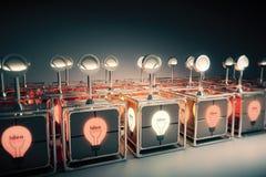 Concepto de la idea con los engranajes manuales y la bombilla que brilla intensamente stock de ilustración