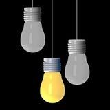 Concepto de la idea, 3D que rinde bombillas el ese brillar intensamente entre los otros en fondo negro libre illustration
