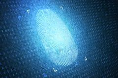 Concepto de la identificación y de la seguridad Huella dactilar de Digitaces 3D rindió la ilustración libre illustration