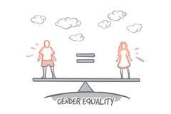 Concepto de la igualdad de género Vector aislado dibujado mano stock de ilustración