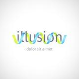 Concepto de la ilusión óptica, plantilla abstracta del logotipo Fotografía de archivo