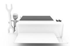 concepto de la impresora de la reparación del hombre 3d Fotografía de archivo