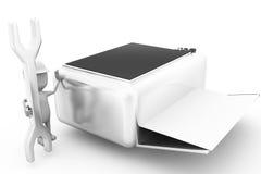 concepto de la impresora de la reparación del hombre 3d Fotos de archivo