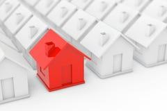 Concepto de la industria de propiedad de Real Estate Casa roja adentro entre blanco Fotos de archivo