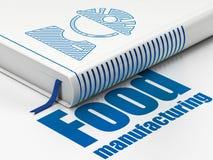 Concepto de la industria: reserve al obrero, fabricación de la comida en el fondo blanco libre illustration