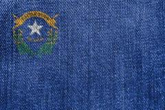 Concepto de la industria textil o de la política: Nevada Flag Denim Jeans foto de archivo libre de regalías