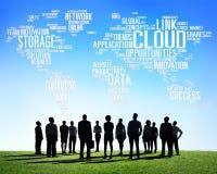 Concepto de la información de datos de la tecnología de ordenadores de la nube del vínculo Fotografía de archivo libre de regalías