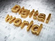 Concepto de la información: Mundo de oro de Digitaces encendido Imagenes de archivo