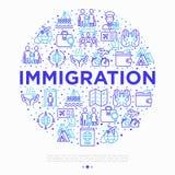 Concepto de la inmigración en círculo con la línea fina iconos: inmigrantes, illegals, examen del equipaje, pasaporte, demostraci libre illustration