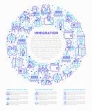 Concepto de la inmigración en círculo con la línea fina iconos: inmigrantes, illegals, examen del equipaje, pasaporte, demostraci stock de ilustración