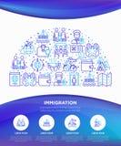 Concepto de la inmigración en semi-círculo con la línea fina iconos: inmigrantes, illegals, examen del equipaje, pasaporte, inter libre illustration