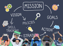 Concepto de la inspiración de la acción de la formación de capacidades de la misión Imagen de archivo