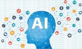 Concepto de la inteligencia artificial Fotografía de archivo