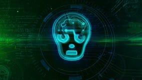 Concepto de la inteligencia artificial con la cara humanoid ilustración del vector