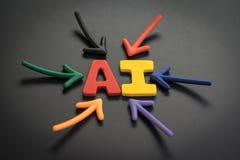 Concepto de la inteligencia artificial del AI, flechas coloridas que señalan a las siglas AI de la cosechadora del alfabeto en el imagenes de archivo