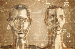 Concepto de la inteligencia artificial - Internet, red, globalizati fotografía de archivo libre de regalías