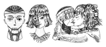 Concepto de la inteligencia artificial Robot y hombre, beso de la mujer y del hombre Pares del amor del concepto Replicant o Andr ilustración del vector