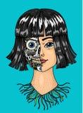 Concepto de la inteligencia artificial Una mujer con mitad de la cara de un robot Replicant o Android Futuro exhausto de la mano ilustración del vector