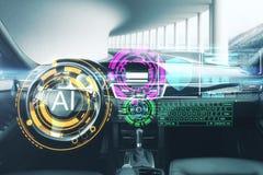 Concepto de la inteligencia artificial y del vehículo fotos de archivo libres de regalías