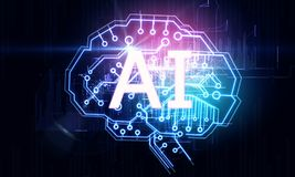 Concepto de la inteligencia artificial y de la tecnología ilustración del vector