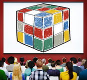 Concepto de la inteligencia de la forma del cubo del juego del cubo del rompecabezas Fotografía de archivo libre de regalías