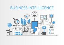 Concepto de la inteligencia empresarial como ejemplo del fondo con diversos símbolos