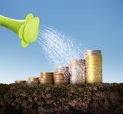 Concepto de la inversión, acción del gráfico de las monedas Imagen de archivo libre de regalías