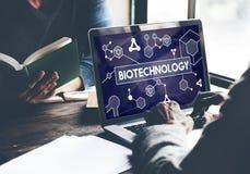 Concepto de la investigación del experimento de la molécula de la célula de la DNA de la biotecnología Imágenes de archivo libres de regalías