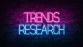 Concepto de la investigaci?n de las tendencias P?rpura y LETRERO de ne?n azul en una pared de ladrillo oscura ilustraci?n 3D ilustración del vector