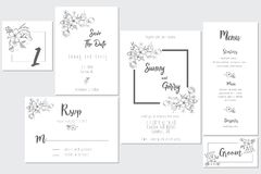 Concepto de la invitación de boda blanco y negro stock de ilustración