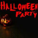 Concepto de la invitación del partido de Halloween, linterna principal del cuenco de la calabaza encendido Imagen de archivo libre de regalías
