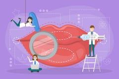 Concepto de la inyección del labio El doctor hace el aumento del labio ilustración del vector