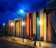 Concepto de la lectura fantasía Pila de libro como edificios stock de ilustración