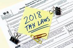 Concepto de la legislación fiscal W9 2018 fotografía de archivo libre de regalías