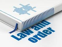 Concepto de la ley: criminal del libro, ley y orden en el fondo blanco stock de ilustración