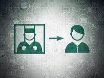 Concepto de la ley: Criminal liberado en fondo del papel de datos de Digitaces libre illustration