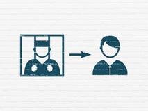 Concepto de la ley: Criminal liberado en fondo de la pared libre illustration