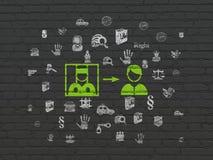 Concepto de la ley: Criminal liberado en fondo de la pared stock de ilustración