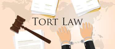 Concepto de la ley del agravio de documento de papel de la legislación del proceso del juicio del mazo del martillo de la justici ilustración del vector
