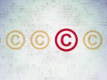 Concepto de la ley: icono de los derechos reservados en el papel de Digitaces Foto de archivo